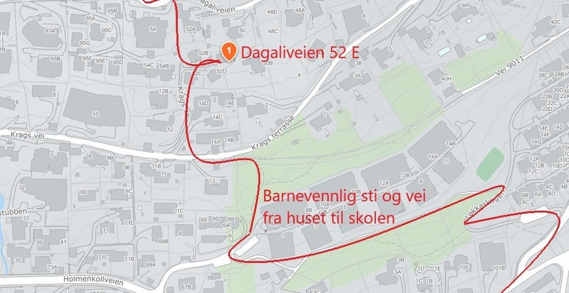 Kart med sti og vei fra D52 E til skole og T-bane