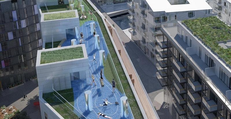 Illustrasjonsbilde av bygg med takterrasse