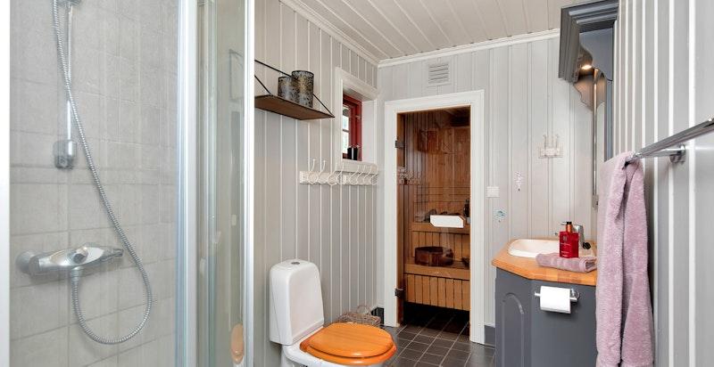 Bad med dusj og inngang til badstue