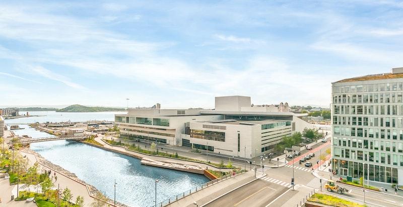 Et kjempespennende område under utvikling. Ved siden av Operaen er det planlagt badestrand, park og kunstgalleri med gresstak som nærmest sømløst glir inn i omgivelsene