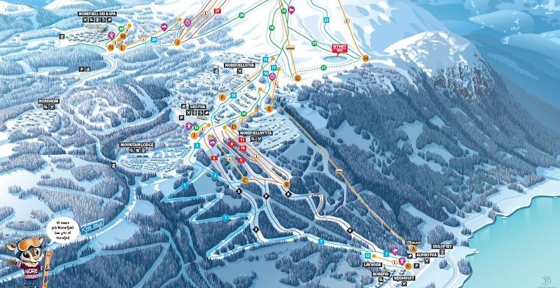 Løypekart Norefjell alpinanlegg