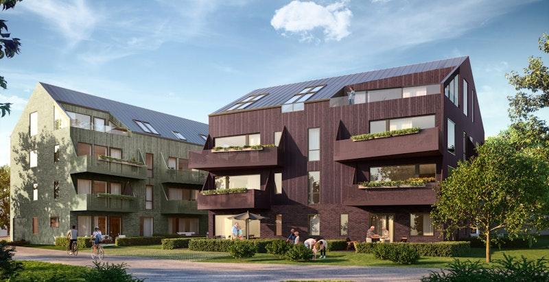 Flott ny bebyggelse med store balkonger/terrasser. Kun ment som illustrasjon - avvik kan forekomme