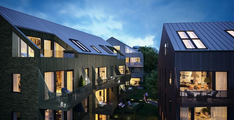 Moderne og flott bebyggelse med bl.a. store balkonger/terrasser. Kun ment som illustrasjon - avvik kan forekomme