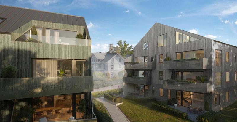 Flott ny bebyggelse med bl.a. store balkonger/terrasser. Kun ment som illustrasjon - avvik kan forekomme