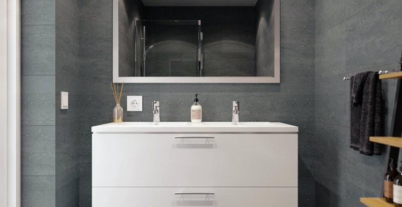 Eksklusiv standard på både bad og kjøkken - levert fra Mobalpa. Kun ment som illustrasjon - avvik kan forekomme