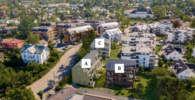 'Paa Holtet' - 26 eksklusive selveierleiligheter fordelt på 3 bygg. Kun ment som illustrasjon - avvik kan forekomme