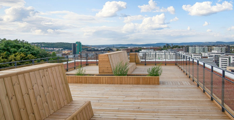 Felles takterrasse med sol hele dagen og fantastisk utsikt over Oslo.