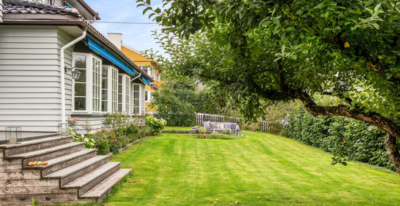 Hage og adkomst til terrasse med utgang fra stuen