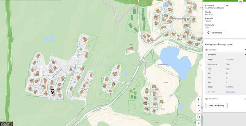 Eiendommen markert på kommunekart.com