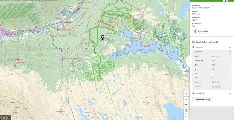 Eiendommen zoomet ut markert på kommunekart.com