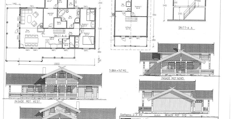 Plan- og fasadetegninger av 2001