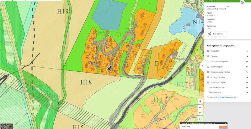 Brendstaul Nordvegen 55 med kommunedelplan vist på www.kommunekart.com