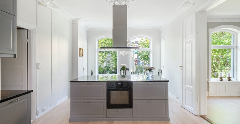 Kjøkkenet er montert nytt i 2016/2017