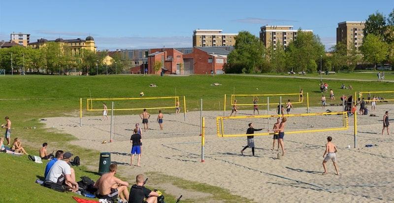 Voldsløkka er et aktivt friområde med kunstgressbane, ballbinge, sandvolleyballbaner og turstier
