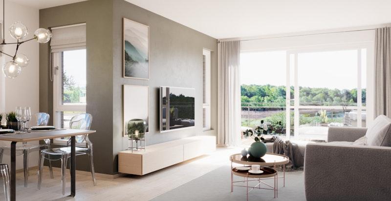 Illustrasjon av stue.