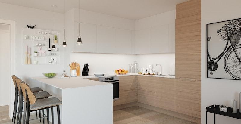 Illustrasjon av kjøkken til annen leilighet.