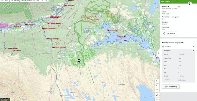 Toreskyrkjavegen 220 markert og zoomet ut på kommunekart.com