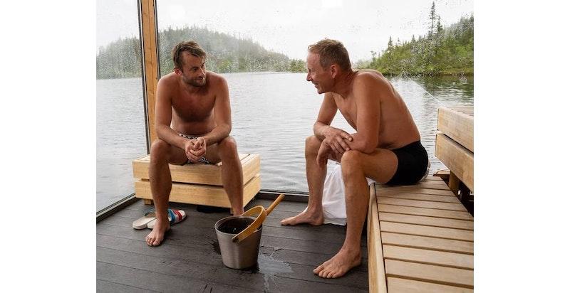 Flytende badstuer på Kvitåvatn ved Gaustablikk høyfjellshotell - her med Petter Northug og Gunde Svan fra Landskampen spilt inn sommeren 2020