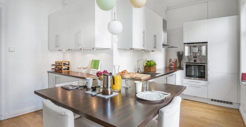 Kjøkken med god spiseplass