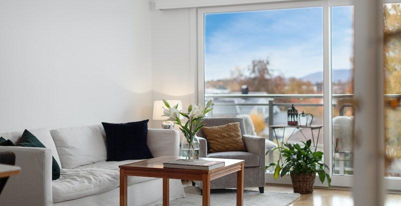 Koselig stue med utgang til solrik veranda