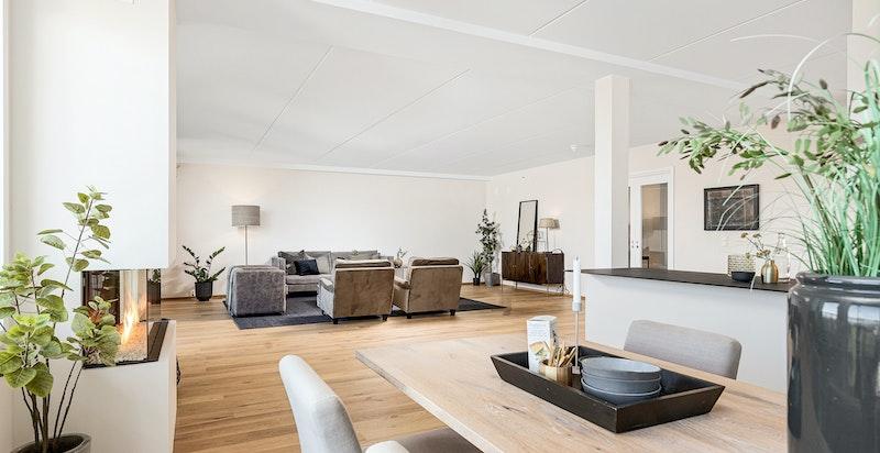 Lys og luftig oppholdssone med plass til flere salonger.