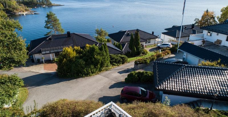 Praktfull utsikt over Oslofjorden fra terrassen