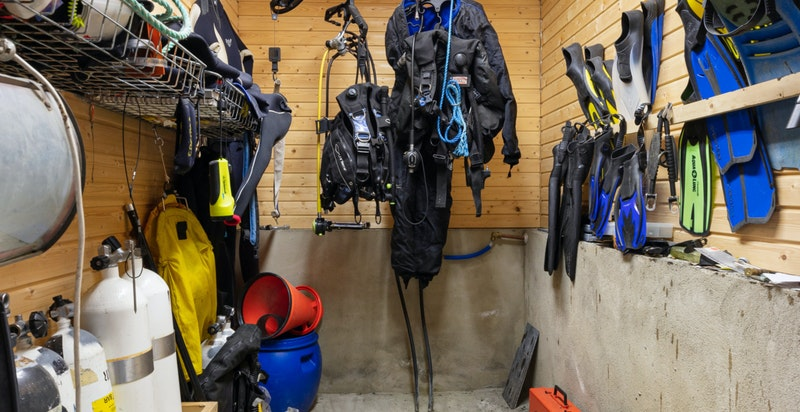 Separat rom for dykkeutstyr