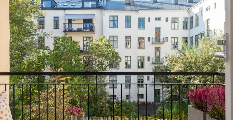 Balkong med fine lys- og solforhold. Vender ut mot rolig bakgård og har et hyggelig utsyn over sameiets flotte bakhage.