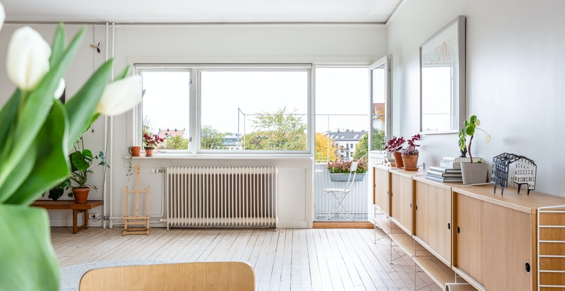 Flotte sol-/lysforhold inn i leiligheten