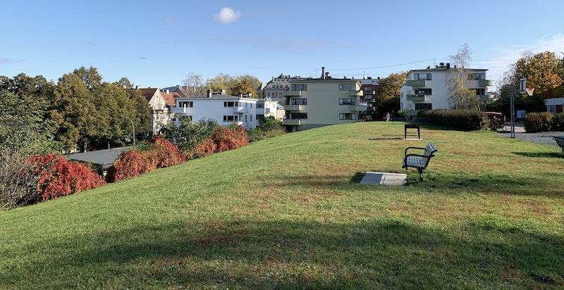 Park og lekeplass rett utenfor