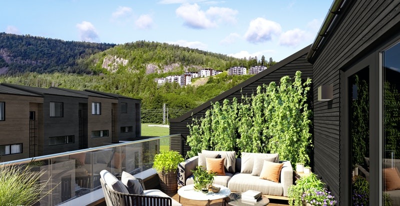 De største rekkehusene (3 plans) har både hageparsell og takterrasse