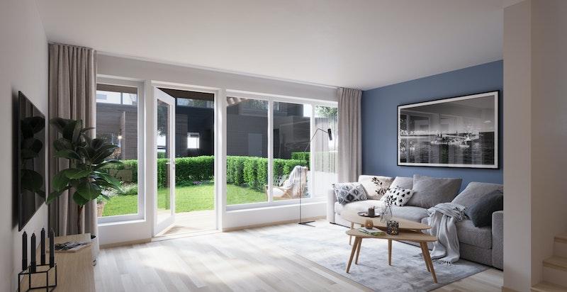 Stor stue med utgang til privat hageparsell
