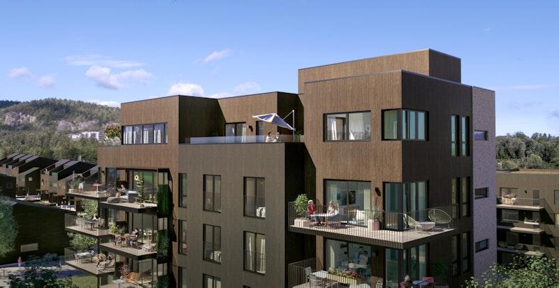 Byggene - her bygg B (tilsvarende bygg C) - har store balkonger og naturtilpassede fasader i tre og tegl.