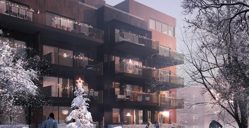 Bygg D ligger helt inn mot friområder. Vinterstid kjøres det opp skiløyper som går inn i marka.