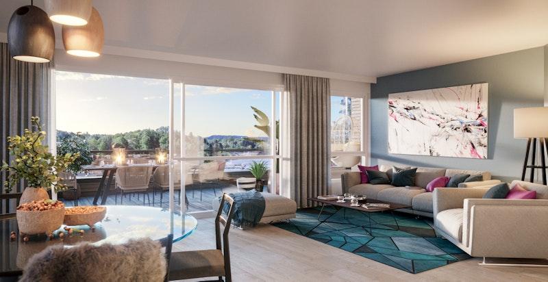 Illustrasjon av stue til annen leilighet.