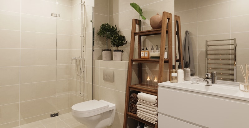 Illustrasjon av dusjbad til annen leilighet.