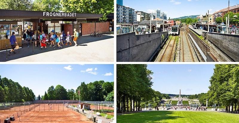 Fra leiligheten er det kort vei til Frognerparken, Frognerbadet, Frogner stadion og T-bane.
