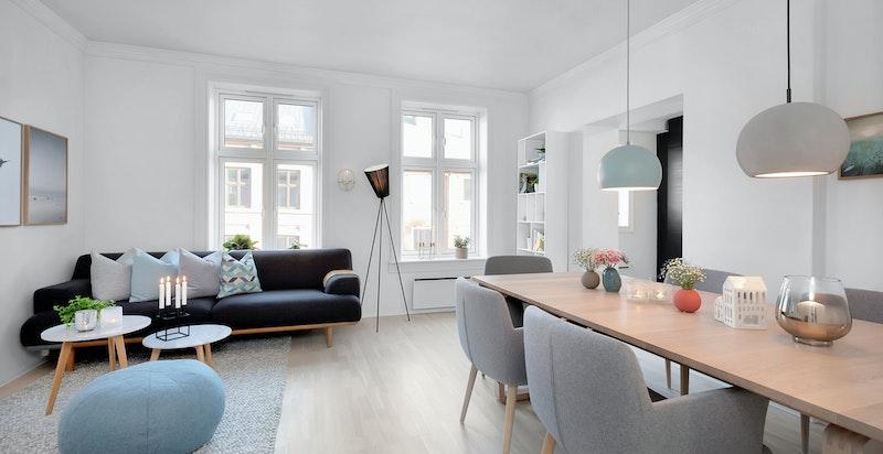Lys og gjennomgående leilighet med svært god planløsning og usjenert beliggenhet på Günerløkka