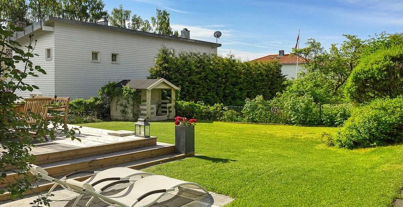 Trivelig og solrik hage