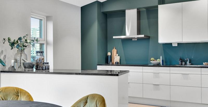 Kjøkkenet leveres komplett med AEG høykvalitets hvitevarer