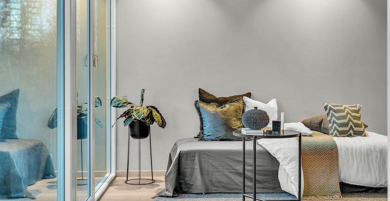 Hybeldelen kan også benyttes som master soverom med en-suite bad