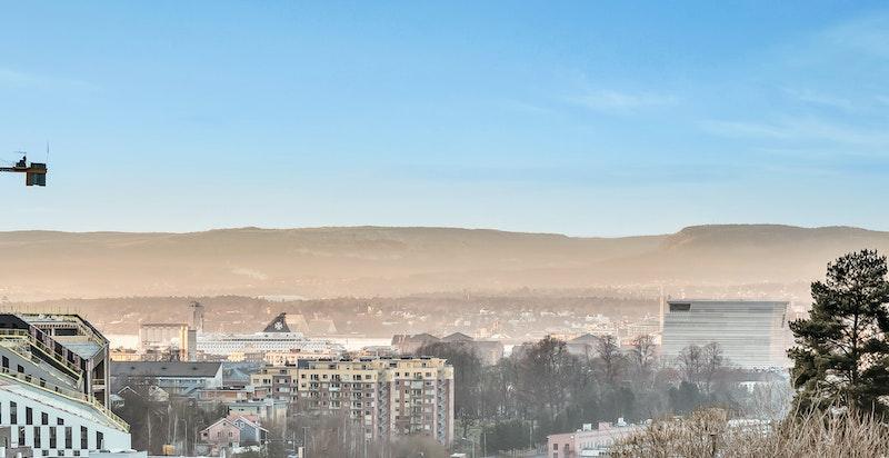 Utsikt syd/vestover mot byen og fjorden