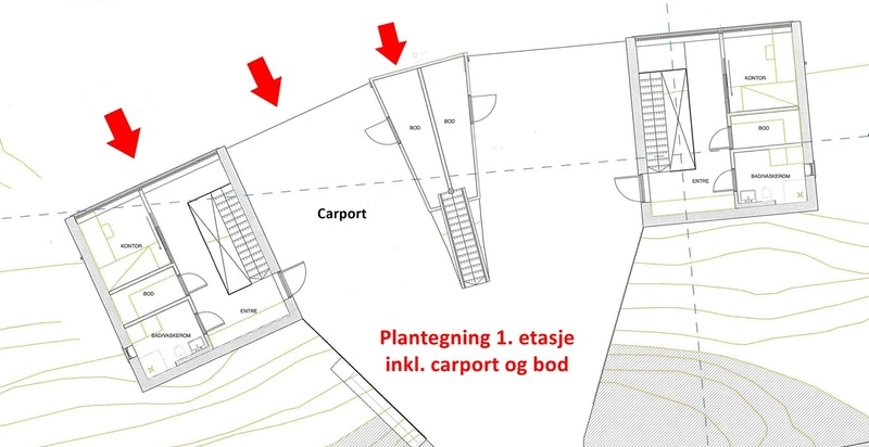 1. etasje, inkl. carport og bod