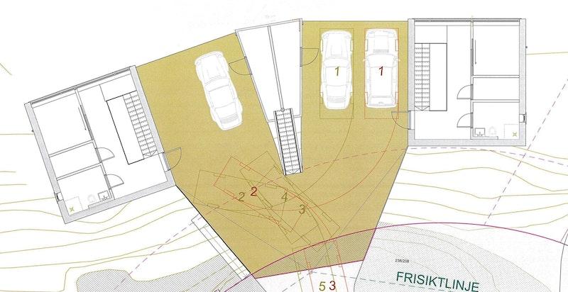 Oversikt carport 1. etasje. Hver seksjon har 2 plasser hver i hhv. hver sin carport.