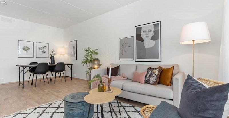 Oppholdssone med plass til sofagruppe og spisestue