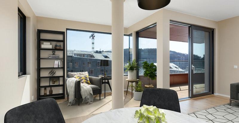 Virtuell møblering av stue.