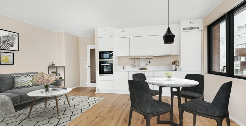 Virtuell møblering av stue/kjøkken.