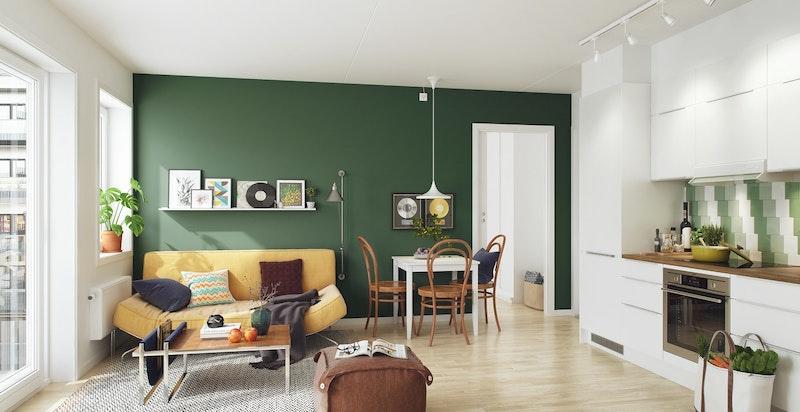 Stue/kjøkken - kunstnerisk illustrasjon