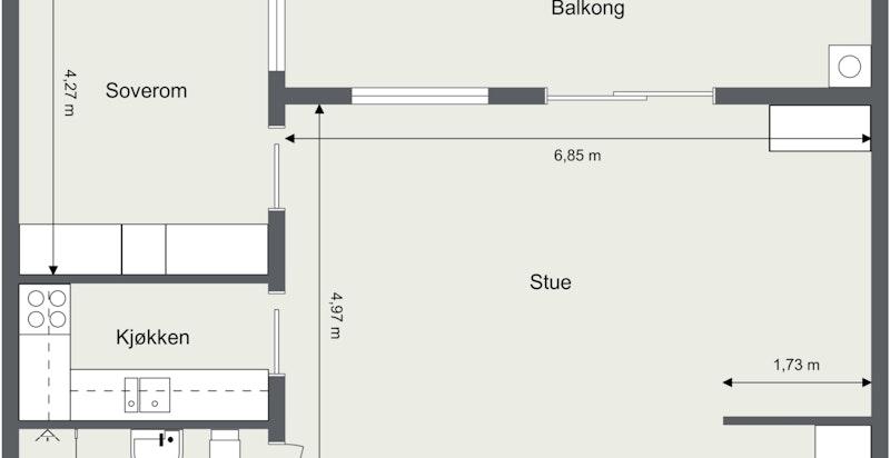 Gamle Ringeriksvei 13 A- U.etg- Snr 2- 2019322 - U. Etasje - 2D Floor Plan