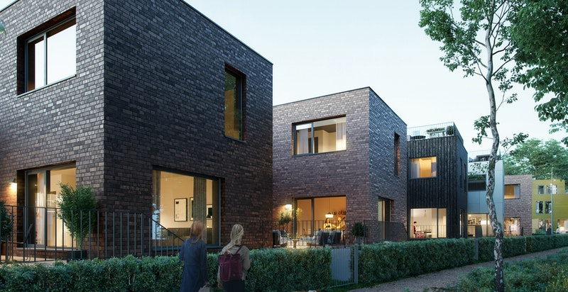 Velkommen til Dyst! Spennende og variert bruk av fasadematerialer gir liv til prosjektet. Illustrasjon.